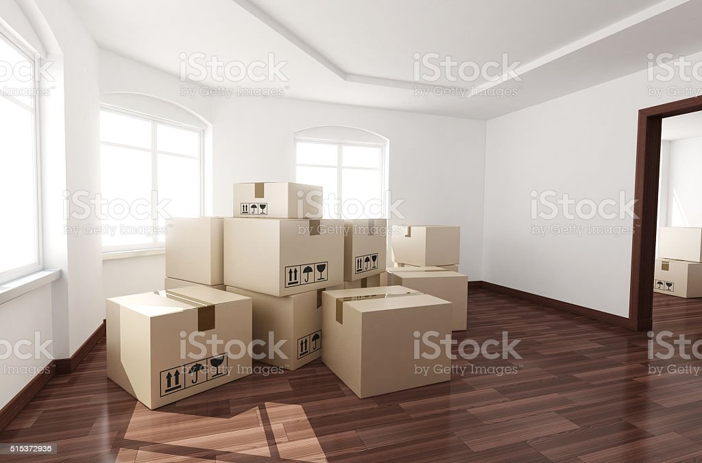 Room empty and box stock photo