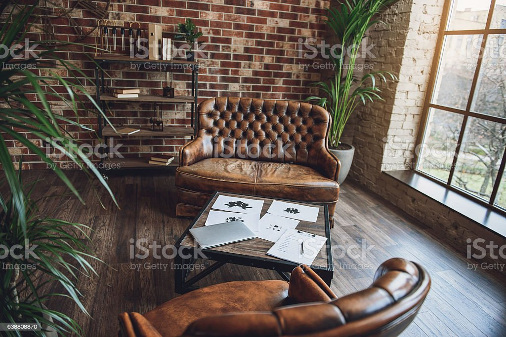 Room furnished in loft style stock photo