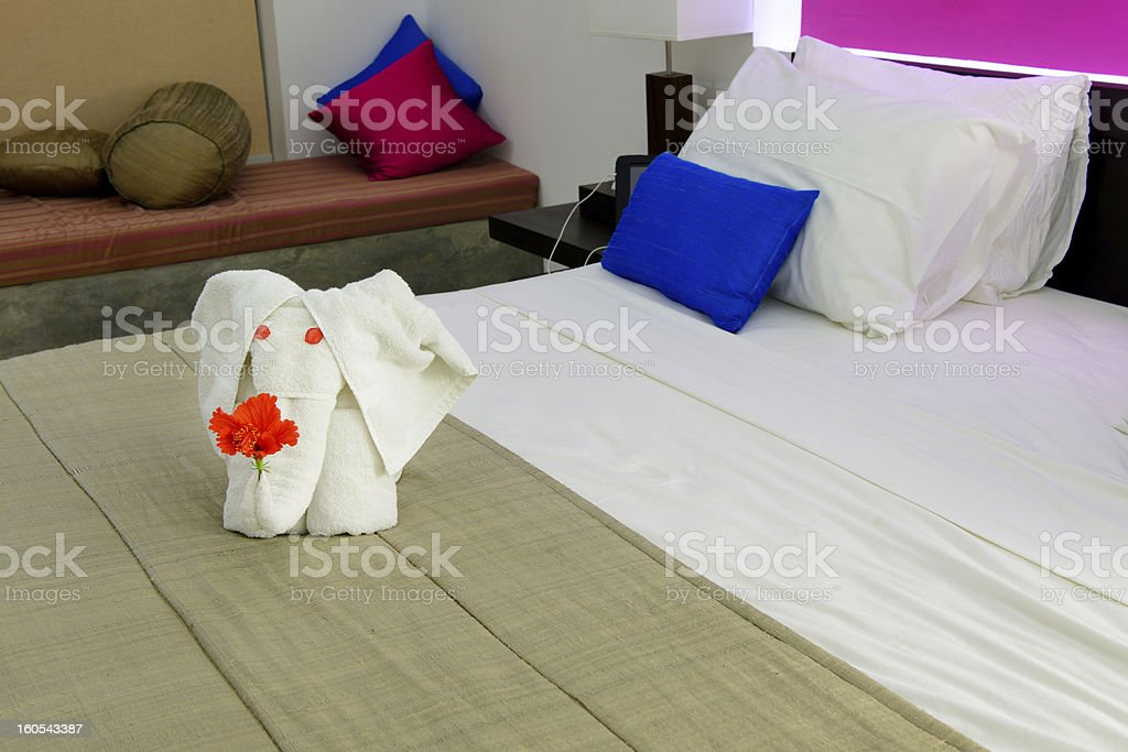 room in a hotel with an elephant from the towel royalty-free stock photo