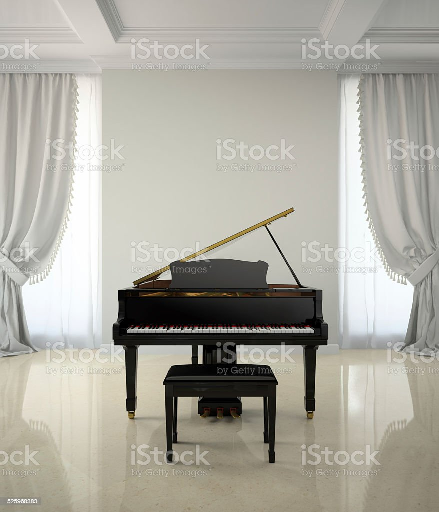 Room in classic style with piano 3D rendering stock photo
