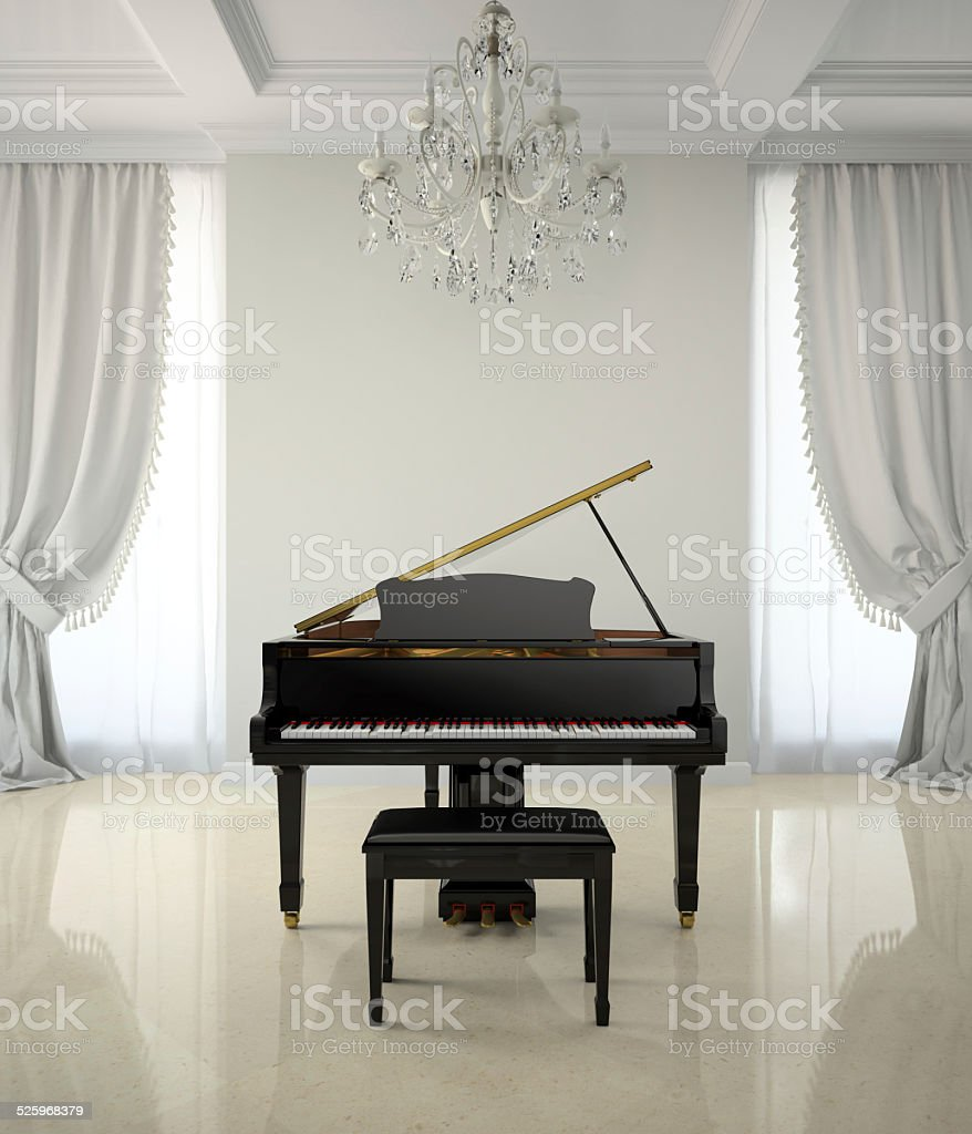 Room in classic style with piano and chandlier 3D rendering stock photo