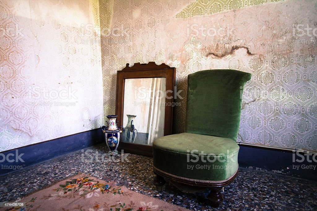 Room in Old Noble Sicilian Palazzo Gone to Seed (Detail) stock photo
