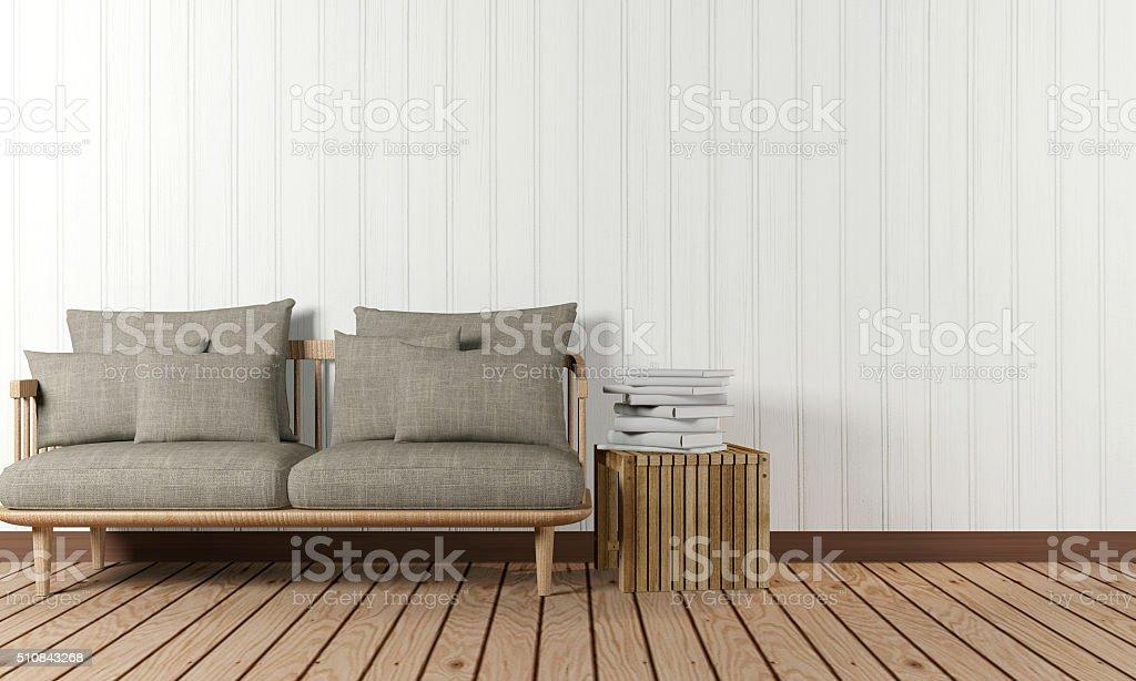 Room interior in minimalist style stock photo