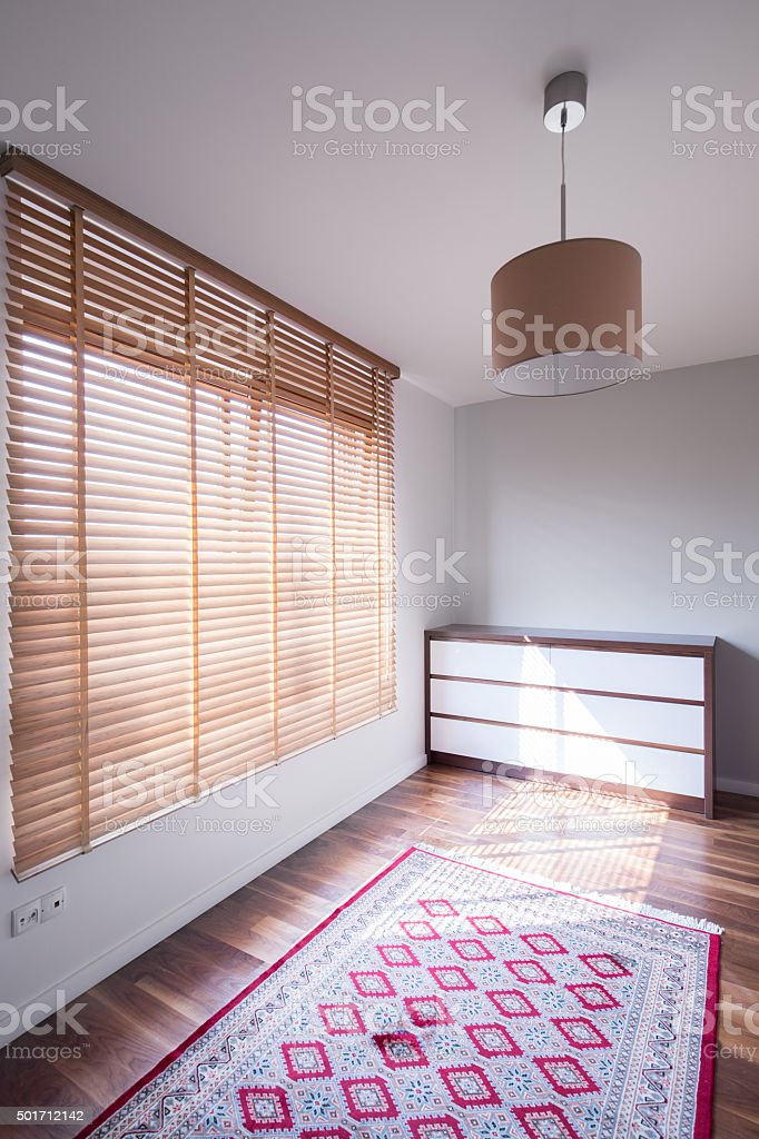 Room interior with big window stock photo
