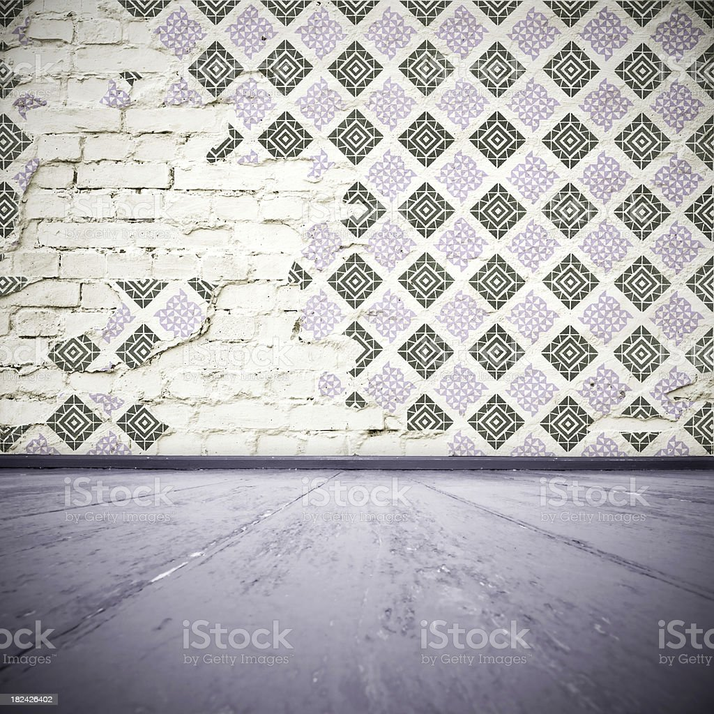 Room Interior With Cracked Wallpaper royalty-free stock photo
