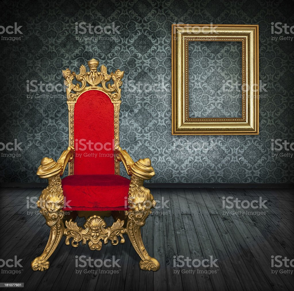 Room Interior With Royalty's Throne And Gold Frame stock photo