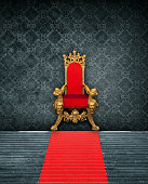 Room Interior With Throne And Red Carpet