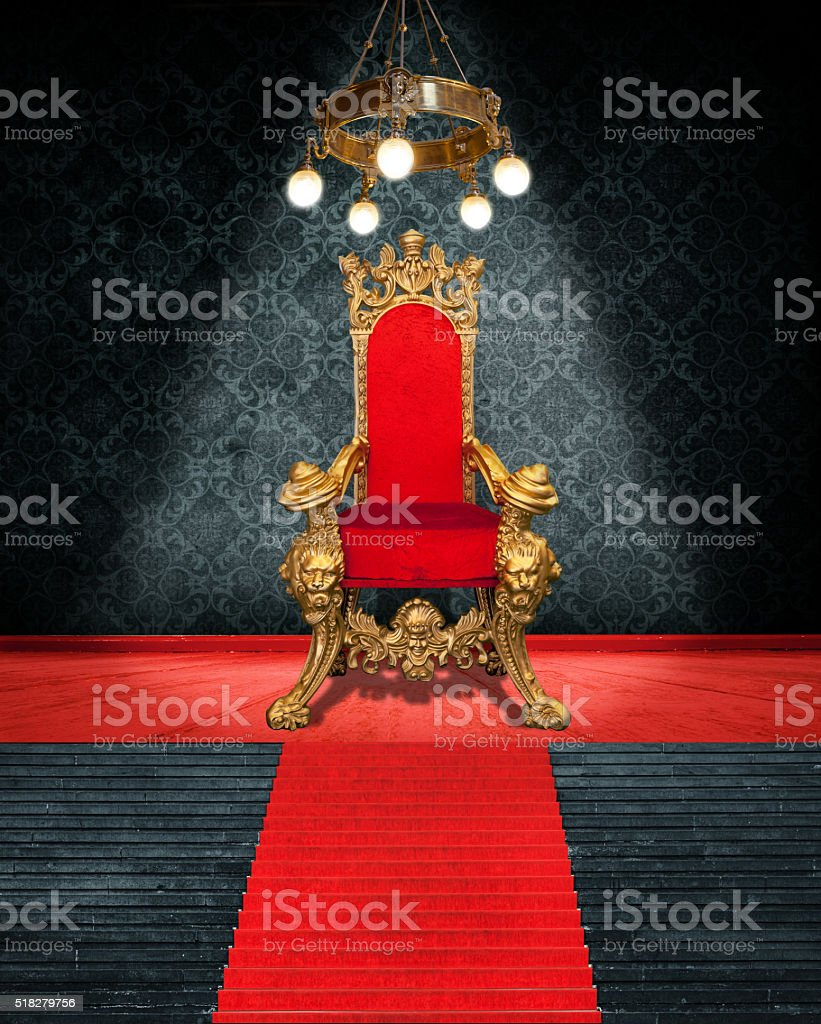 Room Interior With Throne And Red Carpet stock photo