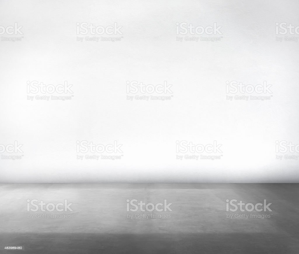 Room Made of White Wall and Concrete Floor stock photo