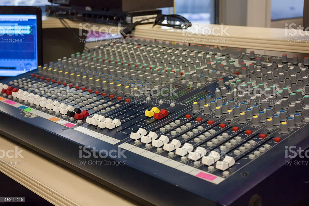 Room of sound producer at the sports arena royalty-free stock photo