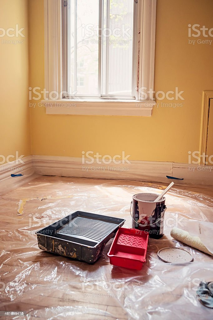 Room ready to be improved with paint. stock photo