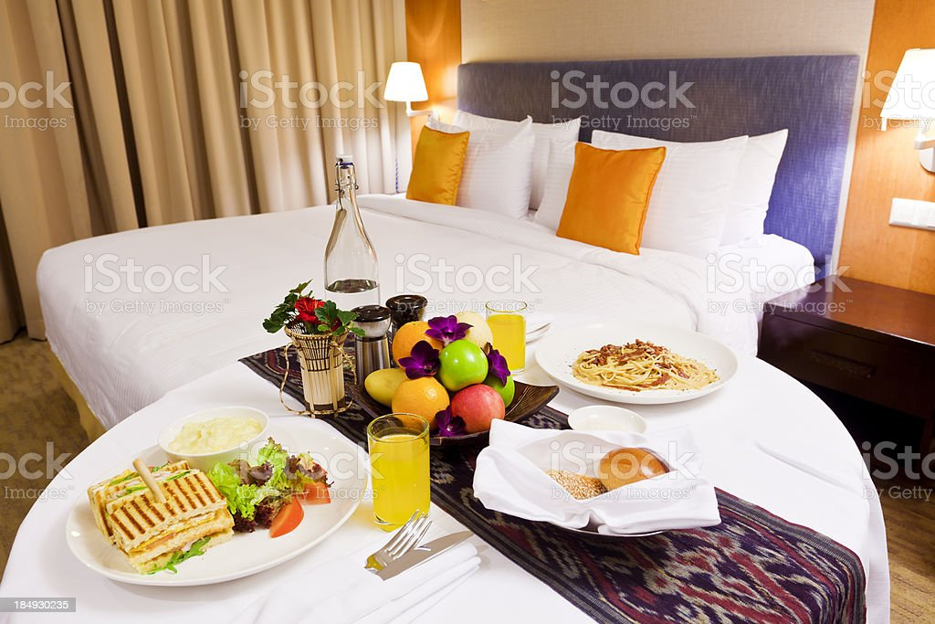 Room service for breakfast in a hotel stock photo