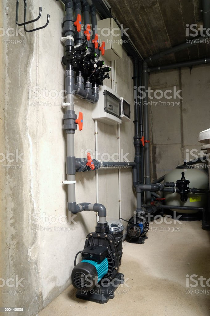 room, swimming pool filtration stock photo