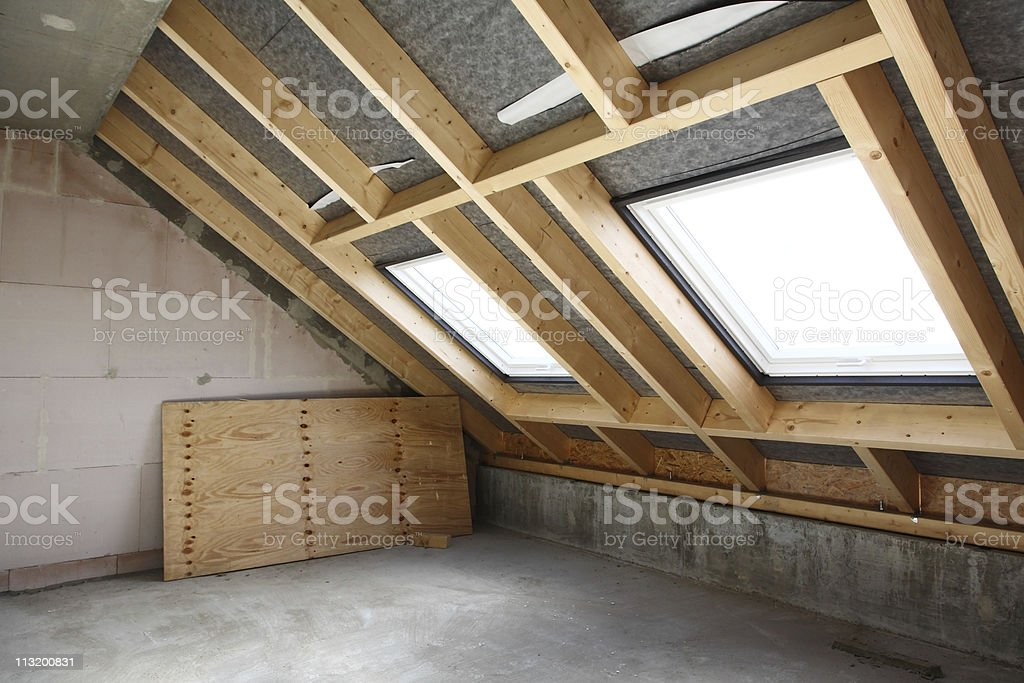 Room under construction with two sunlights stock photo