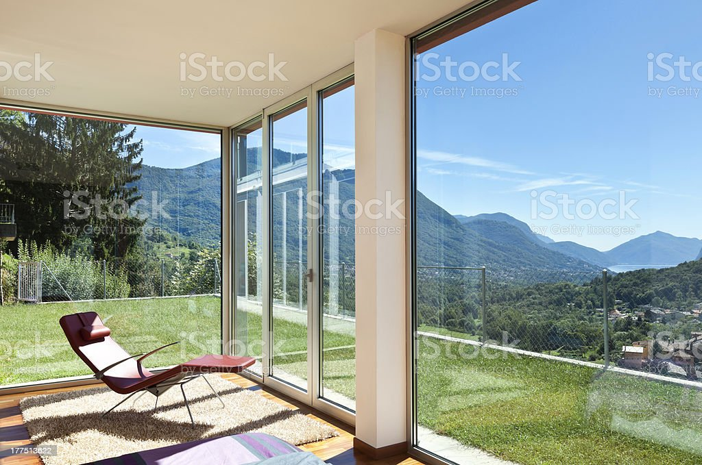 room view with a chair stock photo