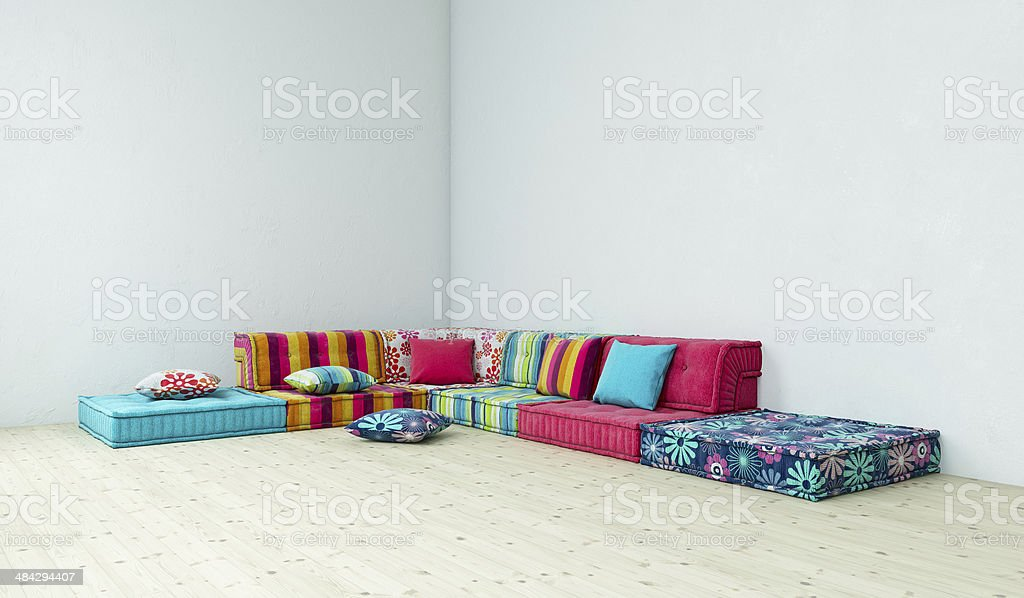 Room with a striped sofa royalty-free stock photo