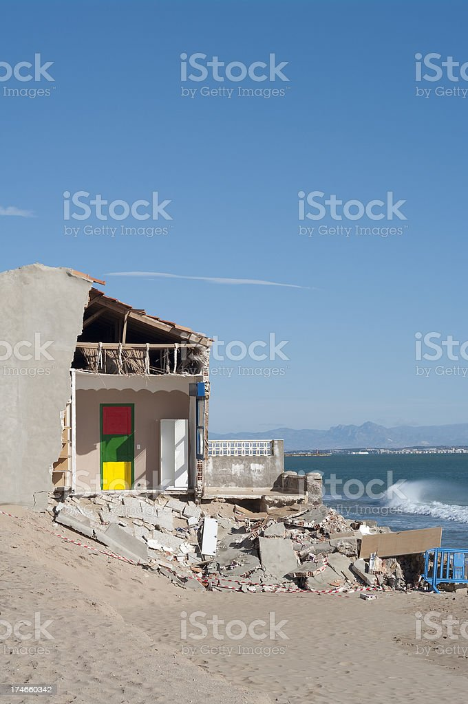 Room with a view - erosion causes house property collapse royalty-free stock photo