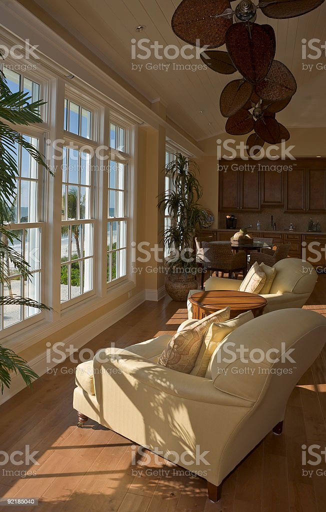 Room with a View in Beach House Late Day stock photo