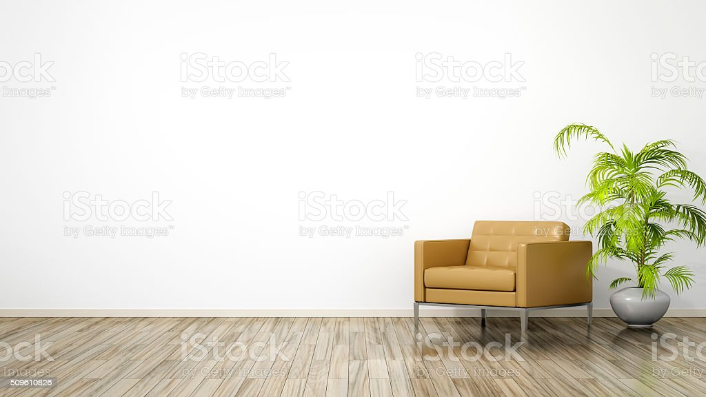 room with an armchair stock photo