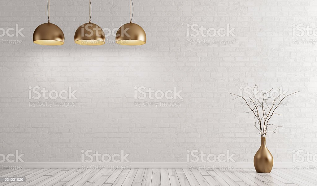 Room with brass lamps over white brick wall 3d render stock photo