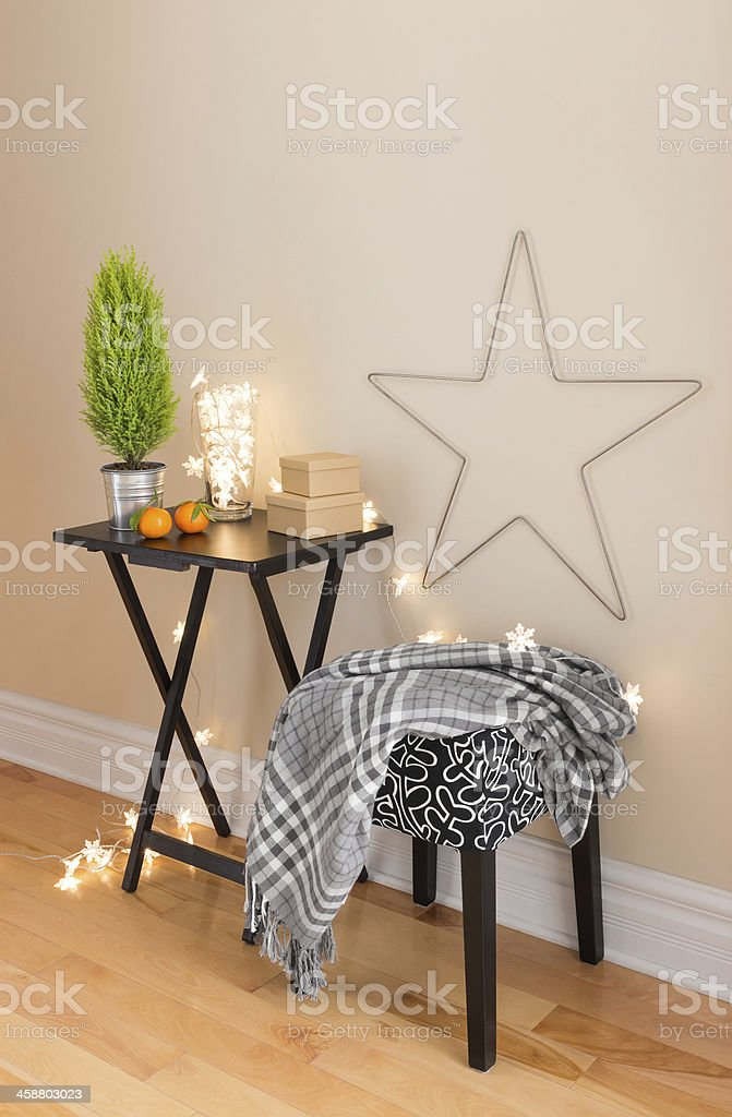Room with Christmas decorations stock photo