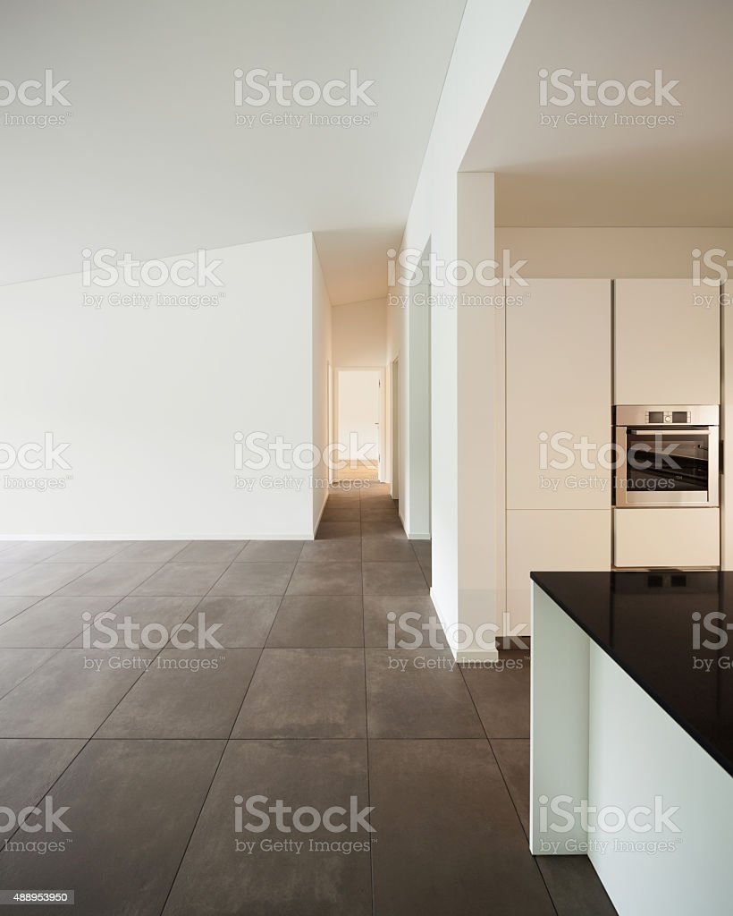 room with domestic kitchen stock photo