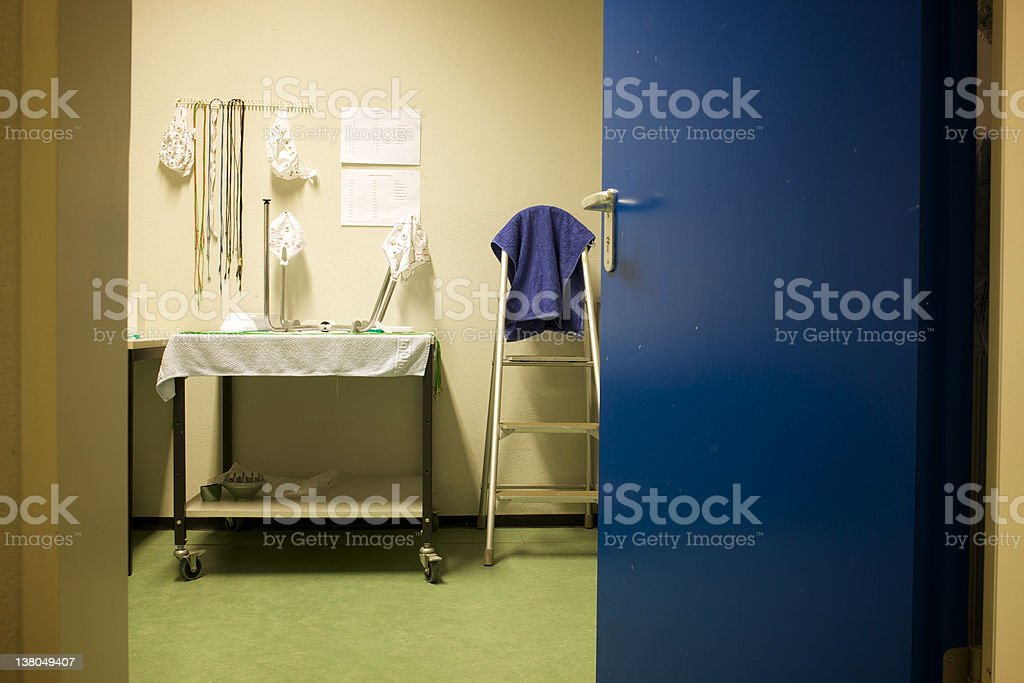 room with equipment for an EEG royalty-free stock photo