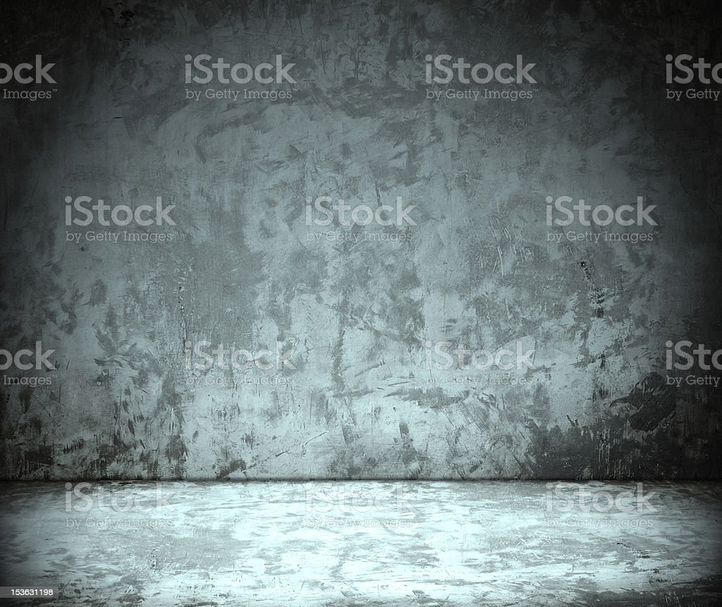 room with grunge concrete wall, cement floor royalty-free stock photo