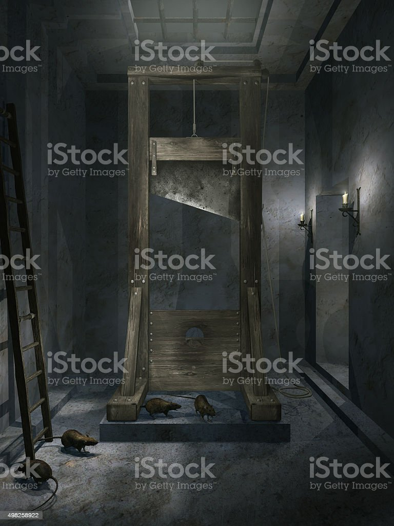Room with guillotine vector art illustration