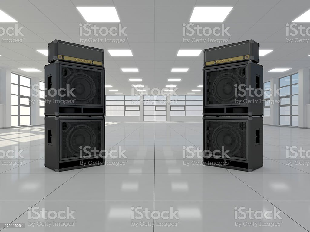 Room with guitar amps stock photo