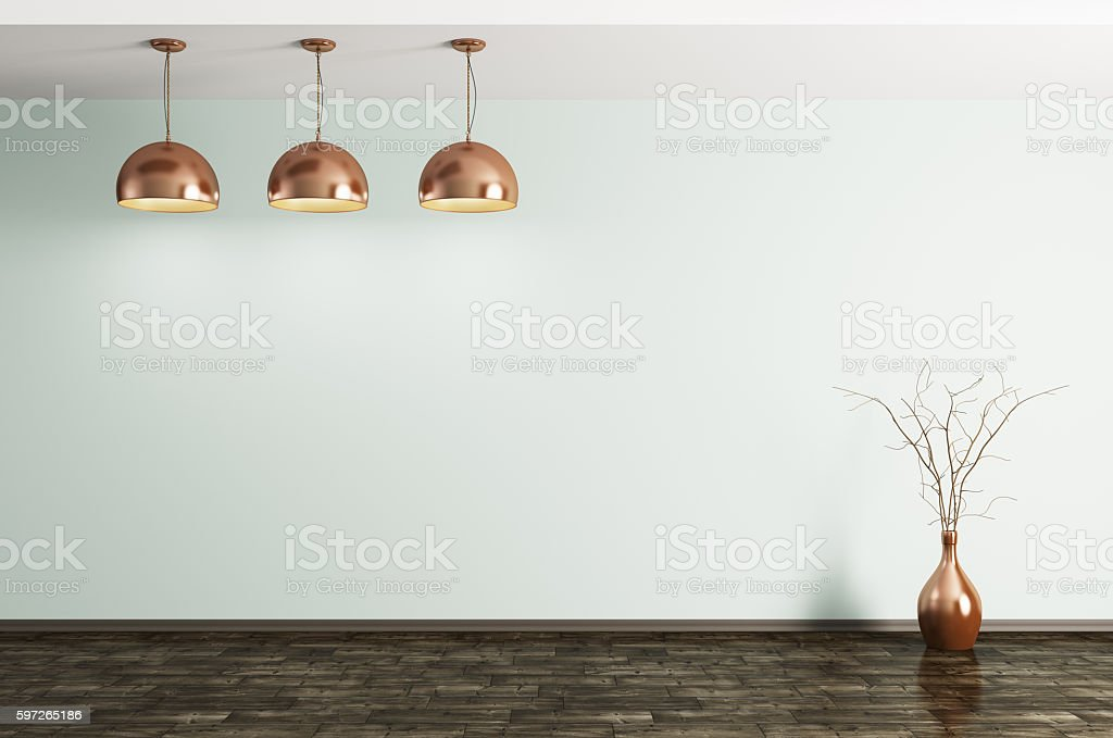 Room with metal brass lamps and vase 3d rendering stock photo