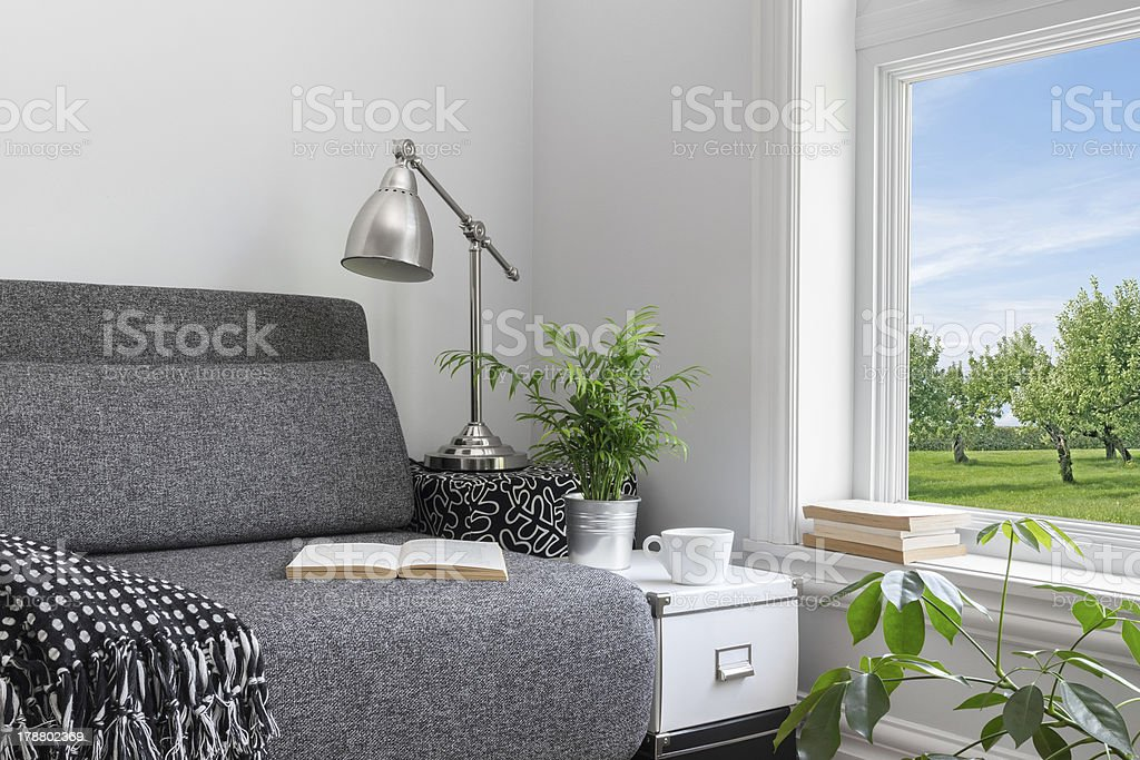 Room with modern decor and beautiful view royalty-free stock photo