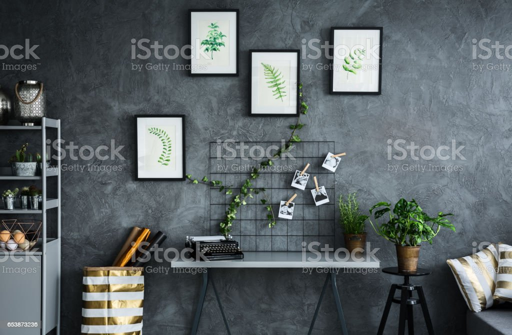 Room with plant themes stock photo