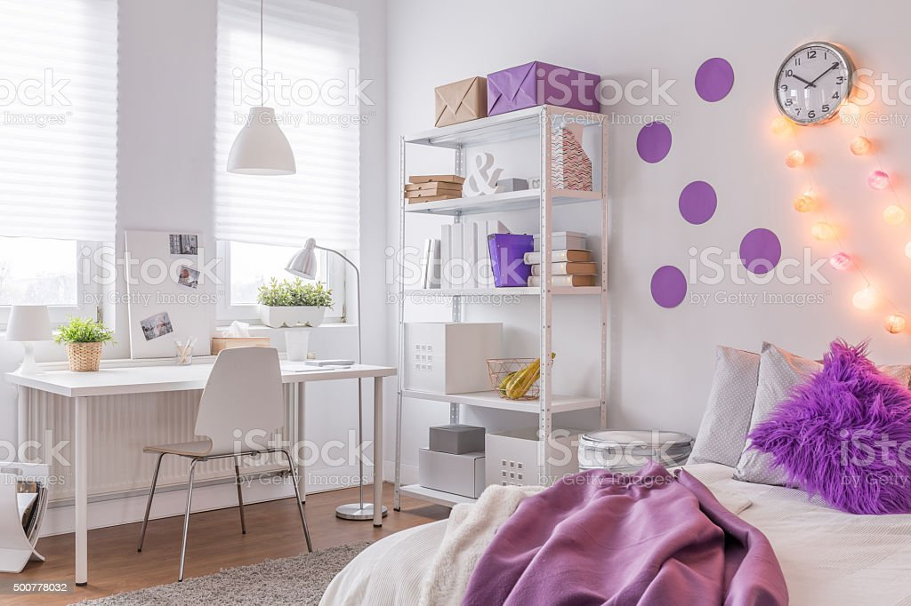 Room with purple decoration stock photo