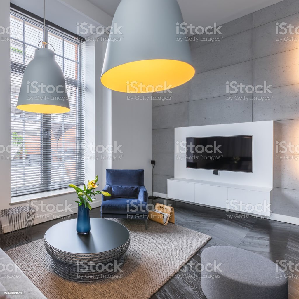 Room with sofa and armchair stock photo