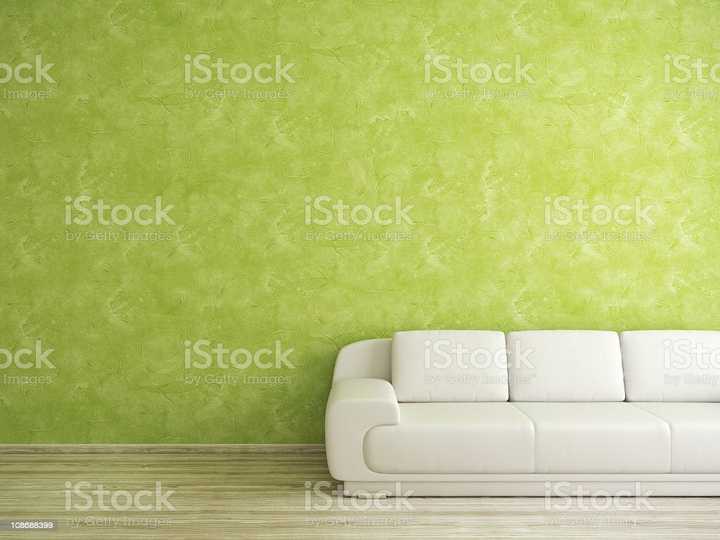 Room with sofa and green wall stock photo