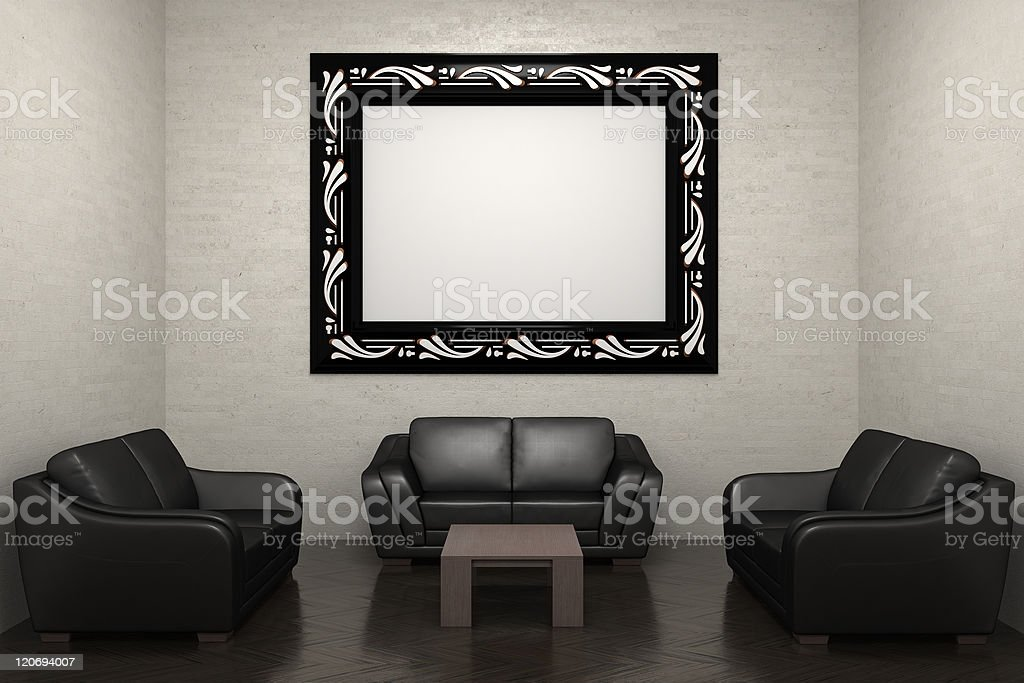 room with sofa and picture frame royalty-free stock photo