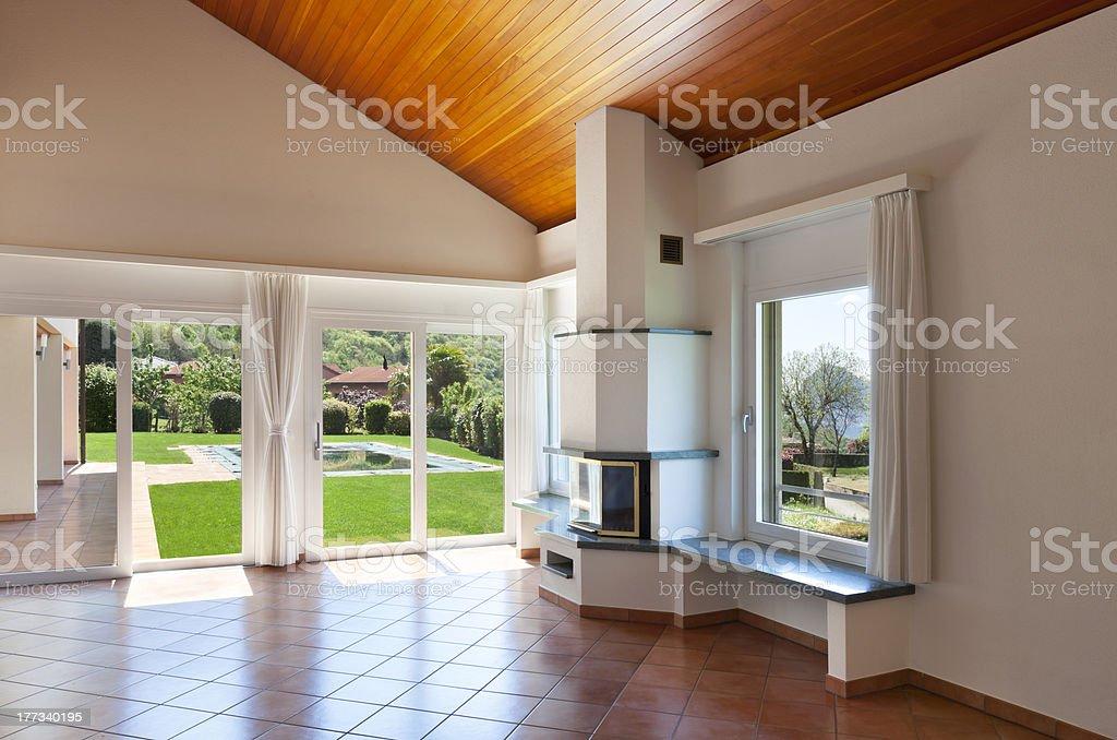 room with terracotta floor stock photo