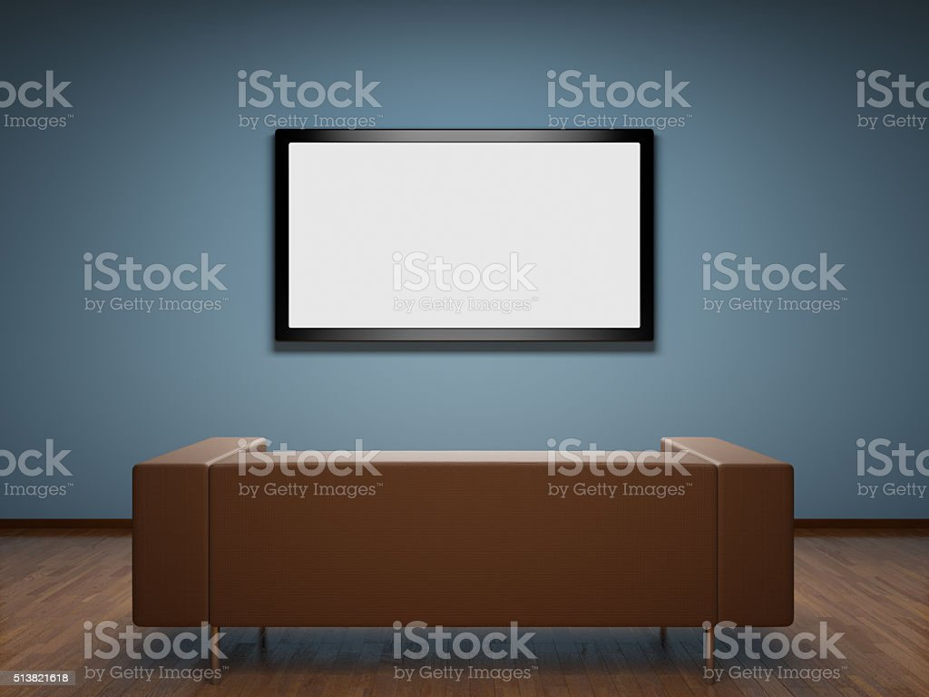 Room with TV and sofa stock photo