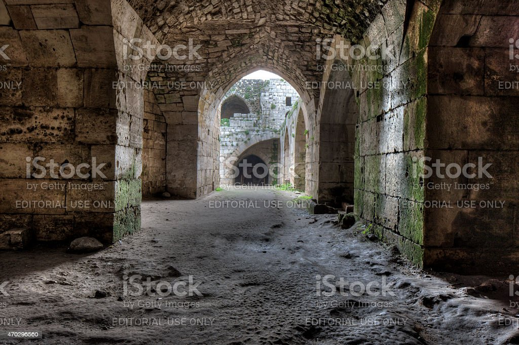 Room with vaulted roof near inner court Krak des Chevaliers stock photo