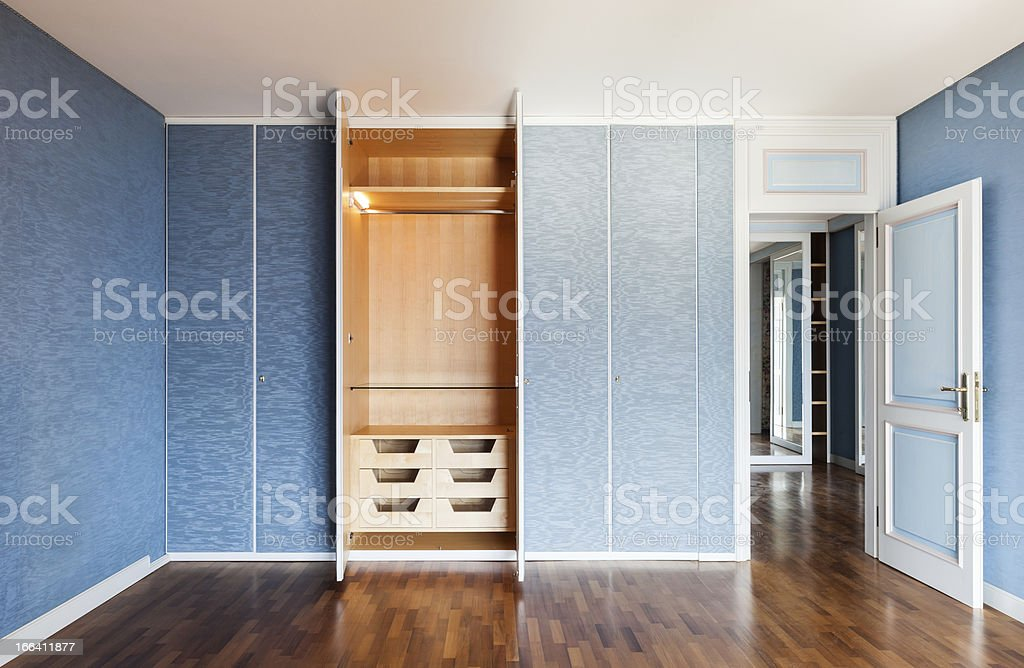 room with wardrobes stock photo