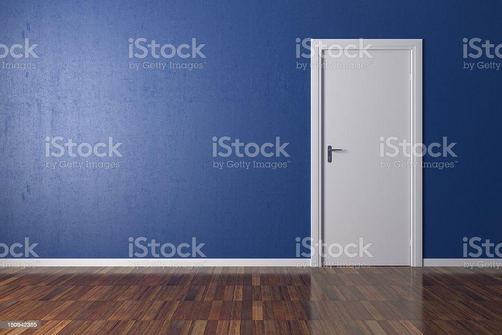 Room with white door stock photo