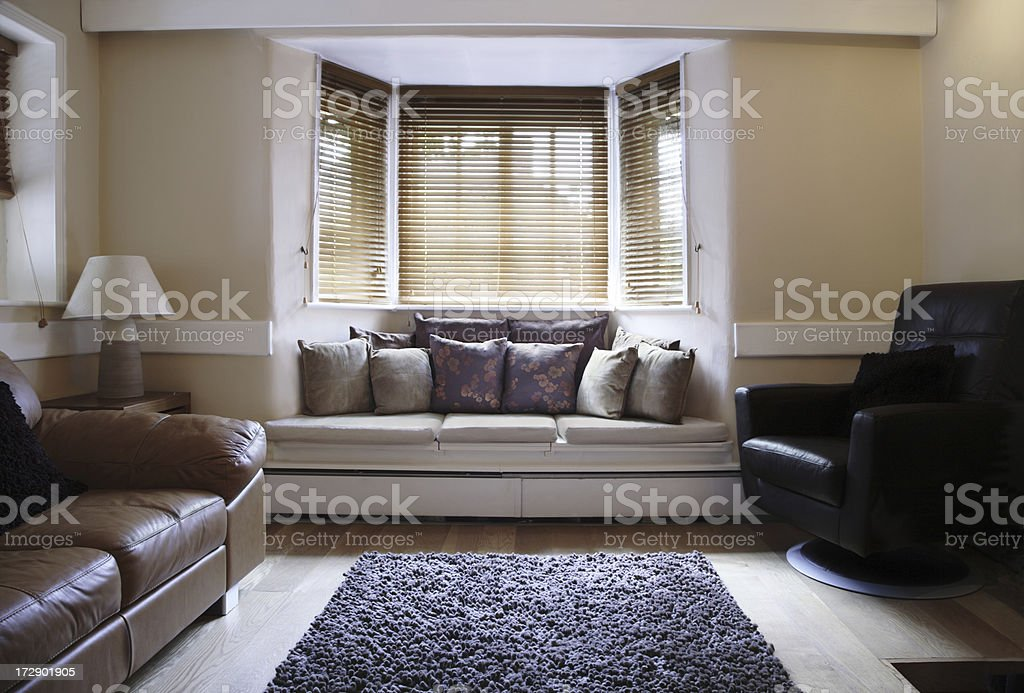 Room With Wooden Blinds royalty-free stock photo