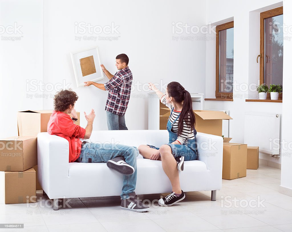 Roommates in new flat royalty-free stock photo