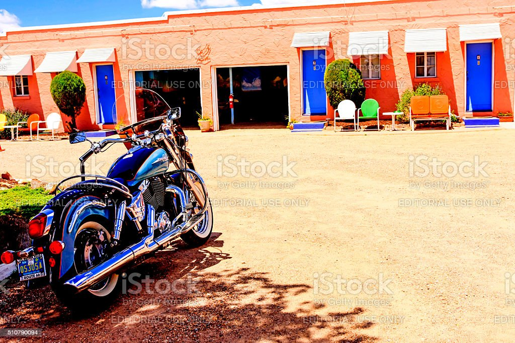 Rooms at the Route-66 Blue Swallow Motel in Tucumcari, NM stock photo