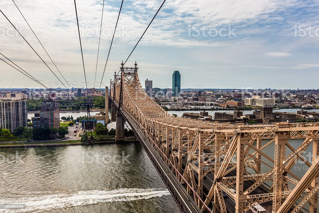 Roosevelt island and Ed Koch Queensboro bridge view from rooseve stock photo