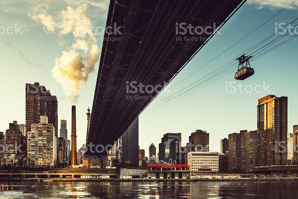 Roosevelt Island Tramway and Queensboro Bridge New York stock photo