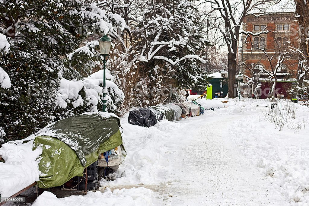 Roost of homeless people in winter royalty-free stock photo