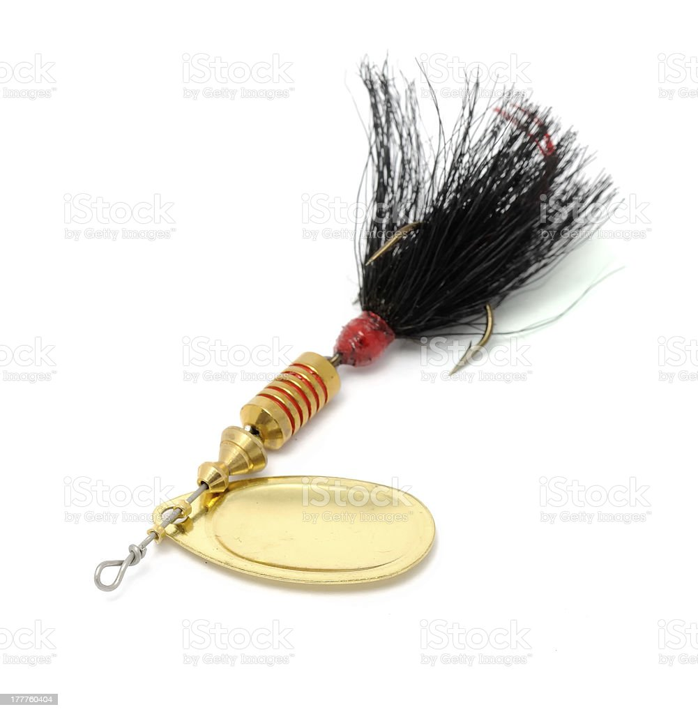 Rooster Tail Fishing Spinner (Spoon Lure) Isolated on White Background royalty-free stock photo