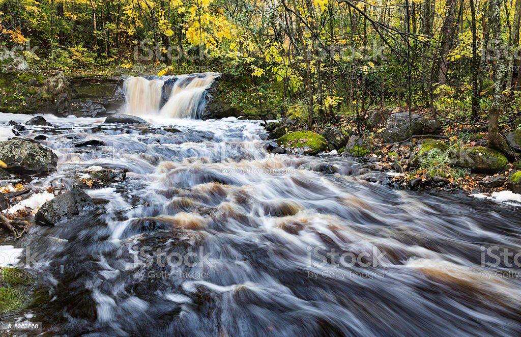 Root Beer Falls in Autumn. Upper Peninsula of Michigan stock photo